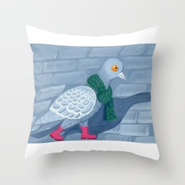 Pigeon in the city Throw Pillow