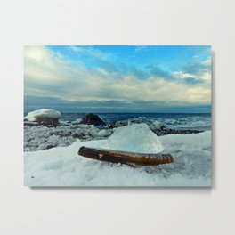 Spring Comes to the Beach in Ice that glows Blue Metal Print