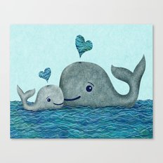 Whale Mom and Baby with Hearts Canvas Print