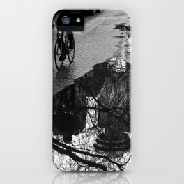 Vancouver after the rain, street photography print, urban black and white art iPhone Case