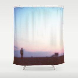 Santa Monica, CA. Gabe at Blurred Sunset. Shower Curtain