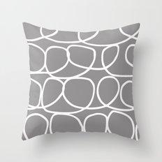 Loop Di Doo Gray & White Throw Pillow