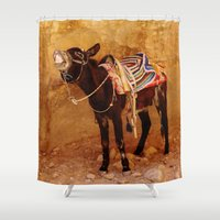 donkey Shower Curtains featuring Donkey by Noelle Abbott
