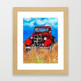 Uncle John's Old Truck Grandpa Red Work Truck Vintage Antique Farm Ranch Farmer Rancher Field Framed Art Print