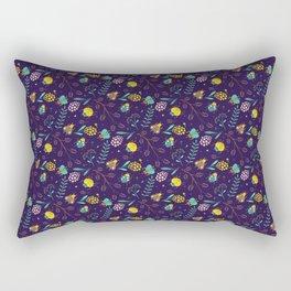 Flora & Beetles (purple) Rectangular Pillow
