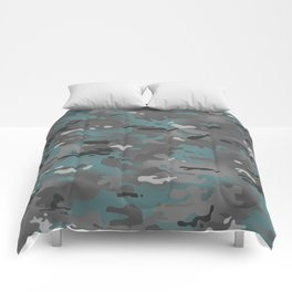 Camouflage: Arctic Blue and Grey Comforters