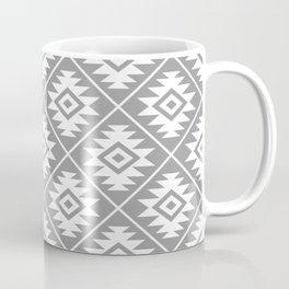 Aztec Symbol Pattern White on Gray Coffee Mug