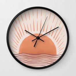 Mid Century Modern Sun print Ocean landscape Terracotta Minimal Boho Wall Clock
