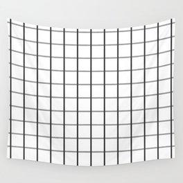 Dark Grey and White Windowpane Checks | Wall Tapestry