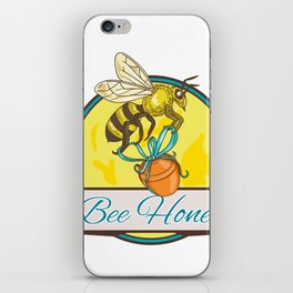 Bee Carrying Honey Pot Circle Drawing iPhone Skin