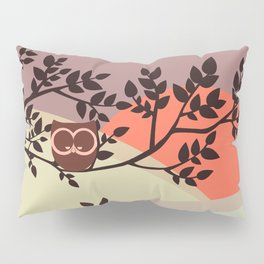 Quiet and peaceful night, cute owl snooze on the tree Pillow Sham