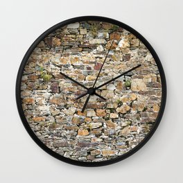 Stone Wall With Weeds Wall Clock