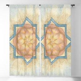 Golden & Blue Mandala Sacred Geometry Activation Blackout Curtain