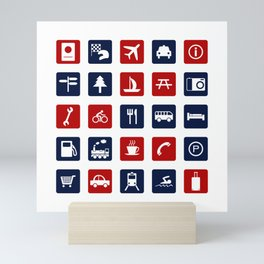 Travel Icons in RWB Mini Art Print