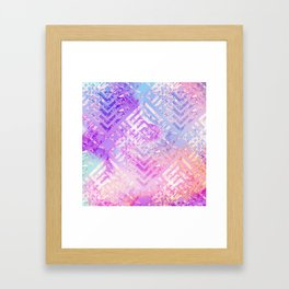 Holographic Glam - Geometric Pattern on Holo Effect Background Framed Art Print