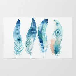 Blue Watercolour Feathers Rug