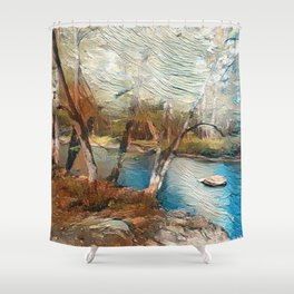 """""""Stream And Trees"""" Shower Curtain"""