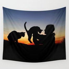 Sunset Cats Wall Tapestry