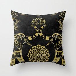 Lotus Flower Elephants Mandala Gold & Black Throw Pillow