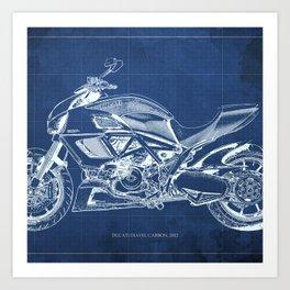Blue Carbon Diavel Art Print