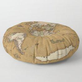 World Treasure Map Floor Pillow