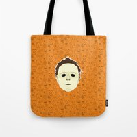 michael myers Tote Bags featuring Michael Myers by Kuki