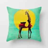 giraffe Throw Pillows featuring Giraffe by Ali GULEC