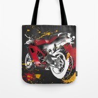 ducati Tote Bags featuring Ducati 1098 Color Spots by Larsson Stevensem