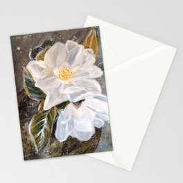 WHITE MAGNOLIA-Original floral Art by HSIN LIN / H.Lin the Artist /Helloinnerpeace Stationery Cards
