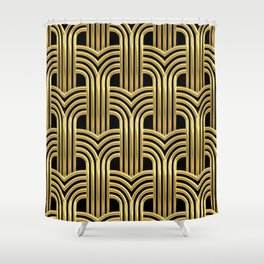 3-D Art Deco Sultry Cuban Nights Gold Pattern Shower Curtain
