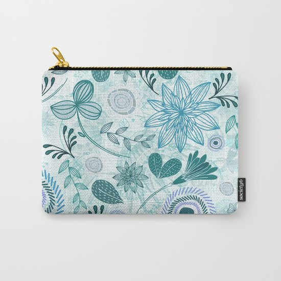Teal Flowery Doodles Carry-All Pouch