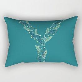 turquoise flower alphabet Y Rectangular Pillow