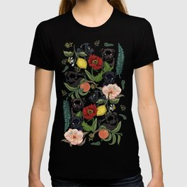 Botanical and Black Pugs T-shirt