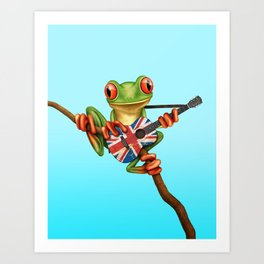 Tree Frog Playing Acoustic Guitar with the Union Jack Flag Art Print