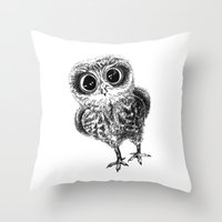 the who Throw Pillows featuring Who? by Sandra Hedicke Clark