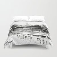 train Duvet Covers featuring Train by Geni