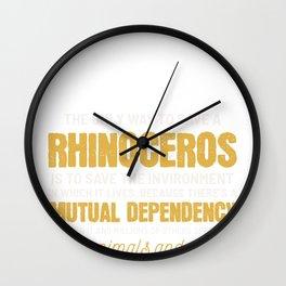 Save Wildlife Rhino Animal Rights Activist Gift Wall Clock