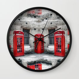 London phone booths red  Wall Clock