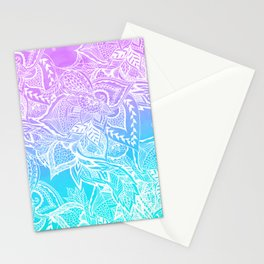 Modern purple turquoise mermaid watercolor floral white boho hand drawn pattern Stationery Cards