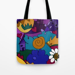 """""""Before the Celebration"""" bold, colorful doodle art Tote Bag"""