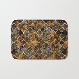 Quatrefoil Moroccan Pattern Brown Labradorite Bath Mat