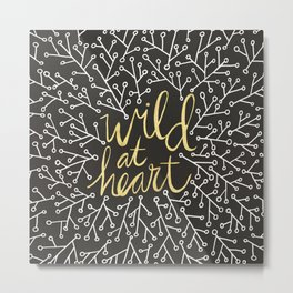Wild at Heart – White and Gold on Black Metal Print
