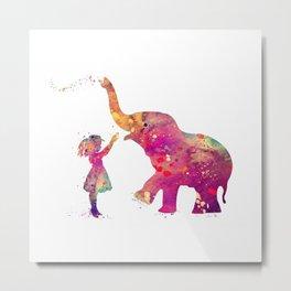 Girl And Elephant Colorful Watercolor Gift Wildlife Art Metal Print