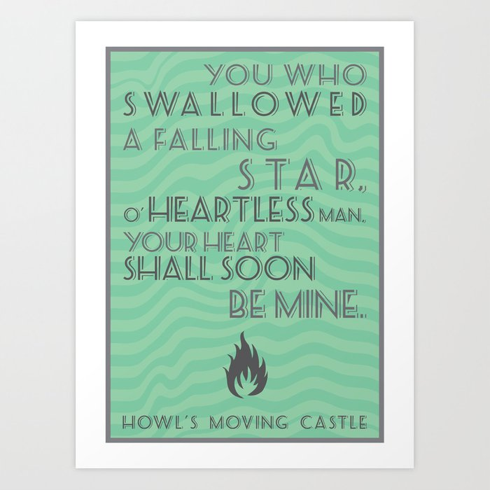 Howl\\\\'S Moving Castle Quotes Howl's Moving Castle Quote Art Print by frogmellaink | Society6 Howl\\\\'S Moving Castle Quotes