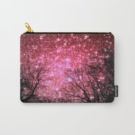 Black Trees Pink Sparkle Space Carry-All Pouch