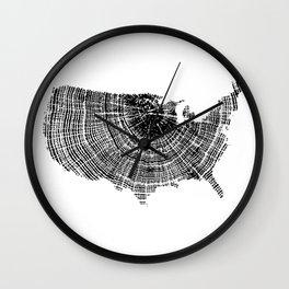 United States Print, Tree ring print, Tree rings, US map, Wood grain Wall Clock