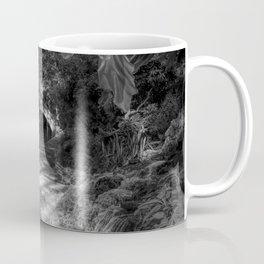 San Antonio Riverwalk and Waterfall Black and White Coffee Mug