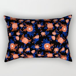 Florida floral orange and blue gators swamp varsity minimal university sports football fan Rectangular Pillow