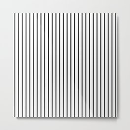 Garden Sludge Grey Pinstripe on White Metal Print