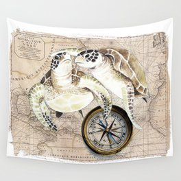 Sea Turtles Compass Map Wall Tapestry